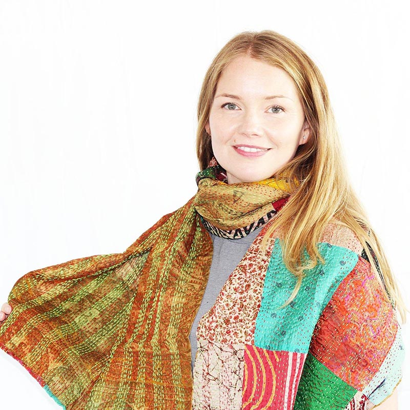 CHEAP Upcycled Kantha Silk Sari Scarves-Large Square Pattern 3 28723196421 – Women's Accessories