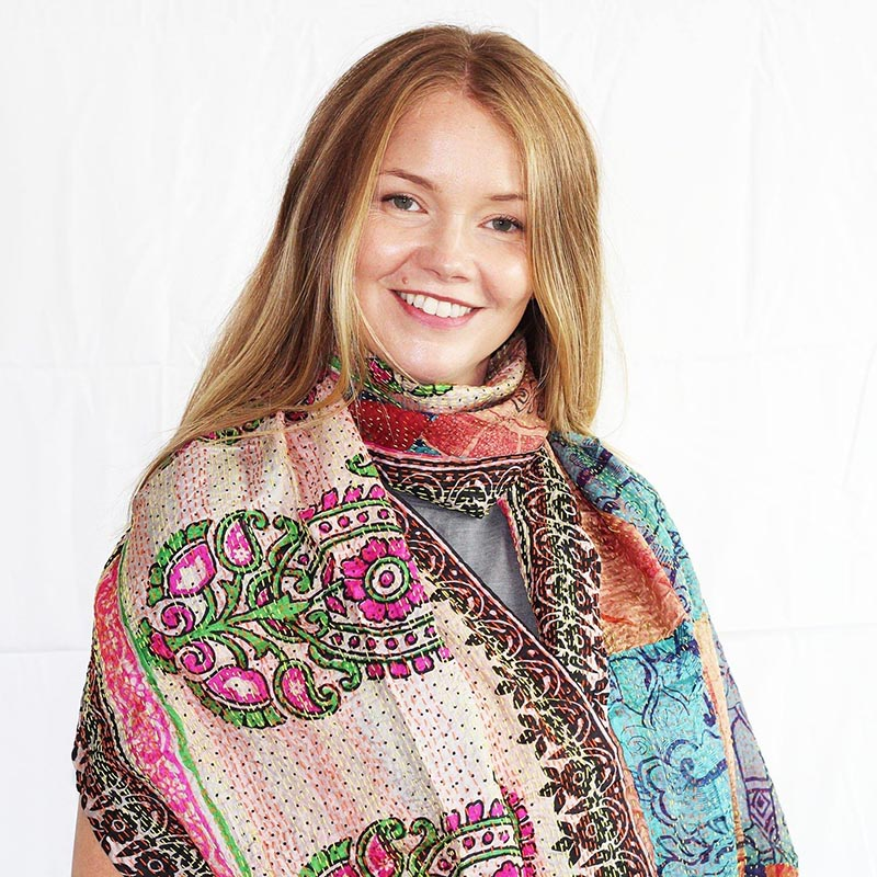CHEAP Upcycled Kantha Silk Sari Scarves-Large Square Pattern 1 28723196441 – Women's Accessories