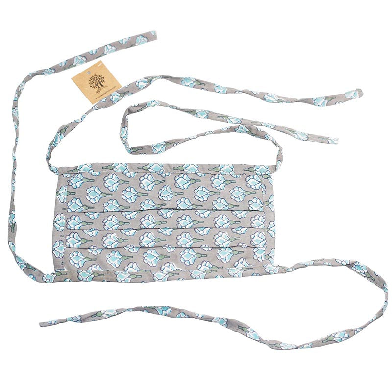 SETU Three Ply Tied Face Mask - Dark Grey with Teal and White Lotus Pattern - Rainbow Life