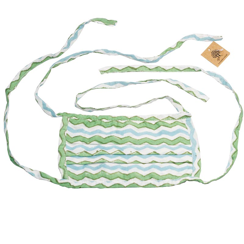 SETU Two Ply Tied Face Mask - Ocean Blue, Green and White Alternating Zig-Zag Pattern - Rainbow Life