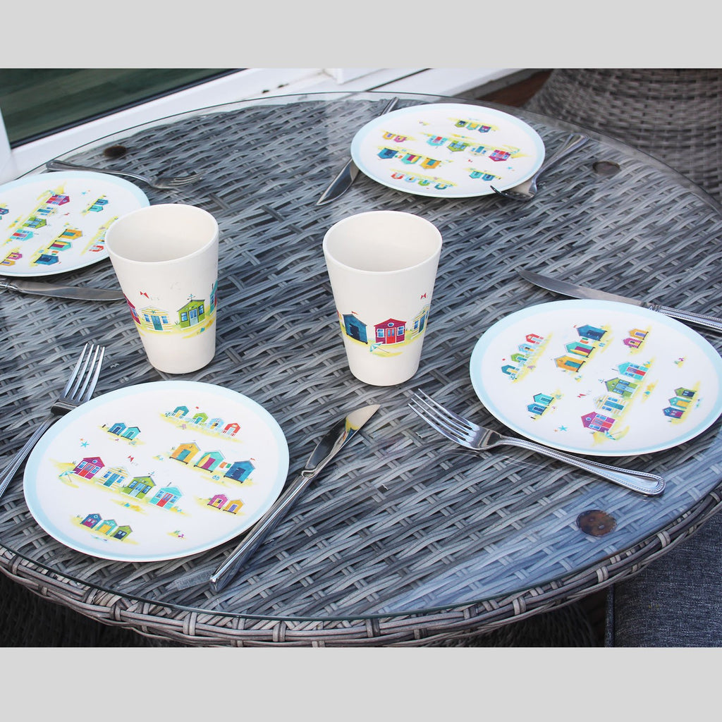 Bamboo Composite Beach Hut Reusable Plate Set - Rainbow Life