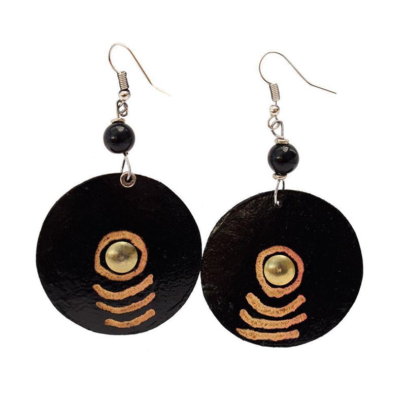 Gourd Earrings-Carved Black Disk with Brass Centre