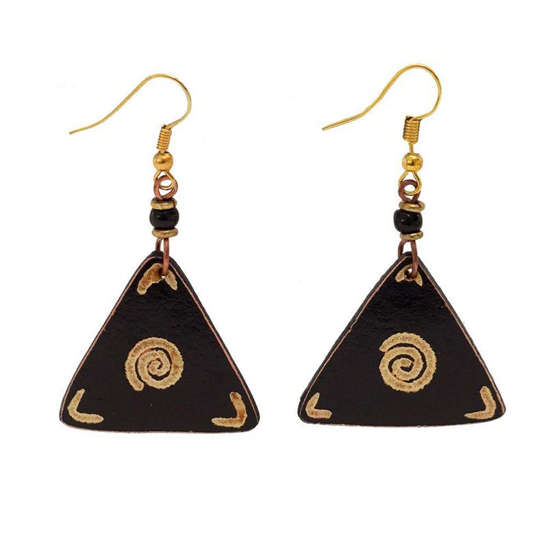 Gourd Earrings-Black Triangle