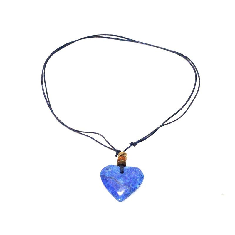 Stone Heart on Cord Necklace-Blue