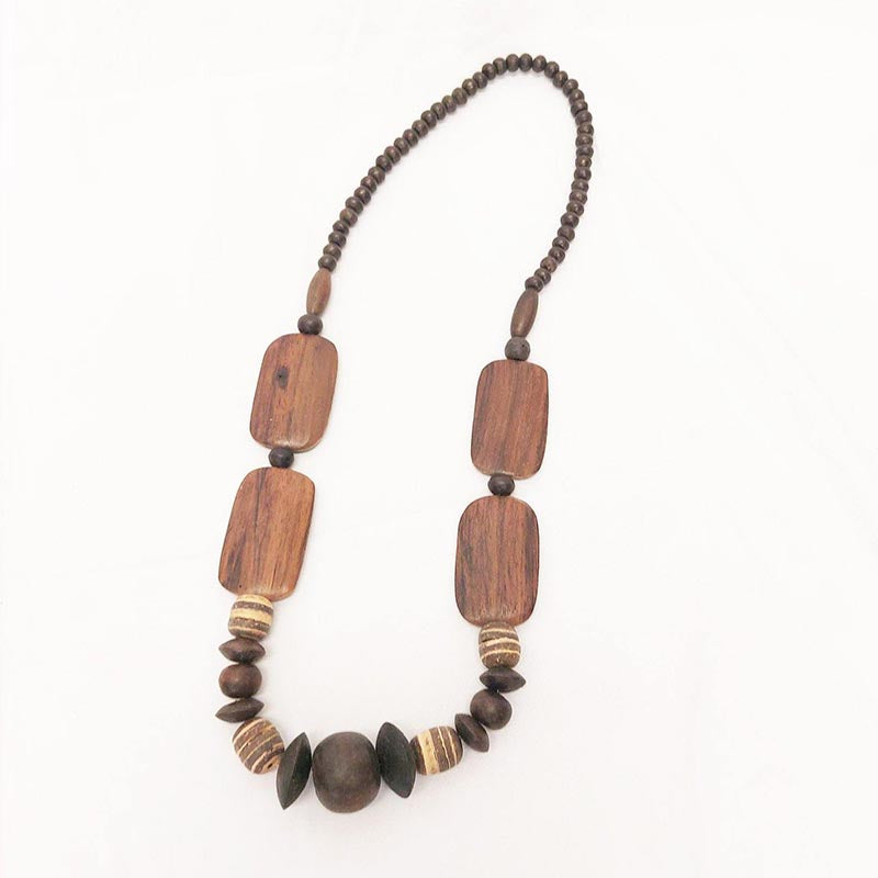 Flat Bead and Assorted Woods Necklace