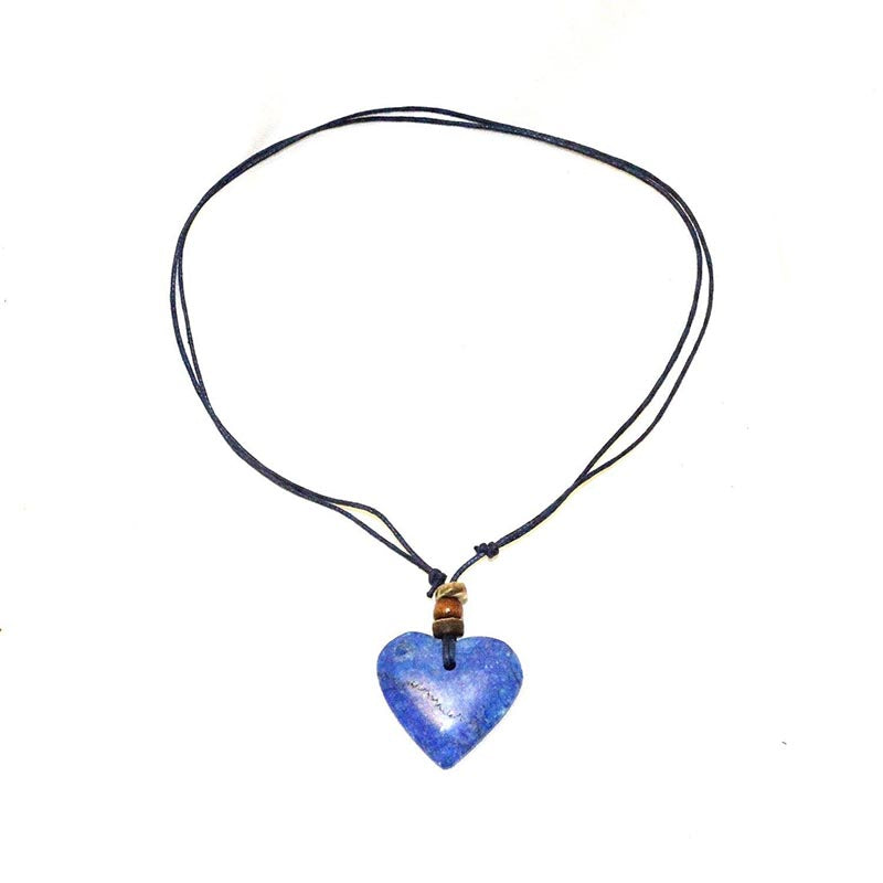 Stone Heart Thong Necklace-Blue