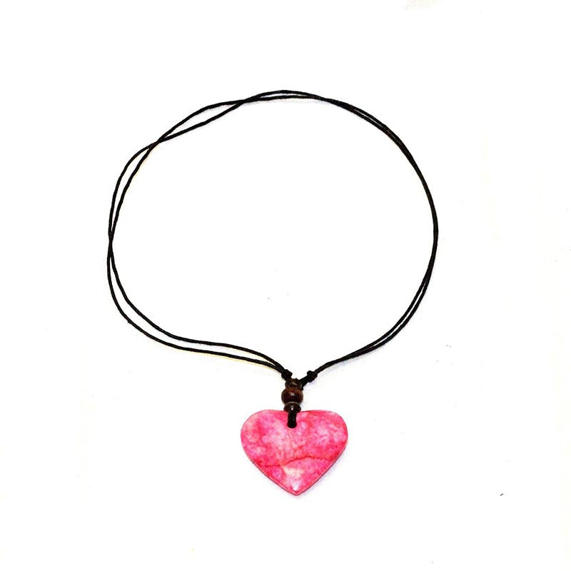 Stone Heart Thong Necklace-Pink