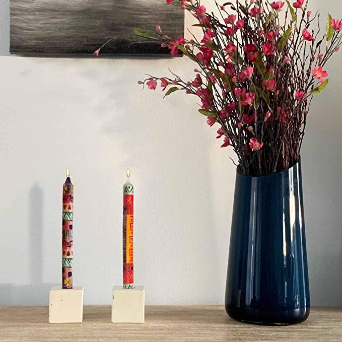 Hand Painted Dinner Candles, 2 pack, Uzima