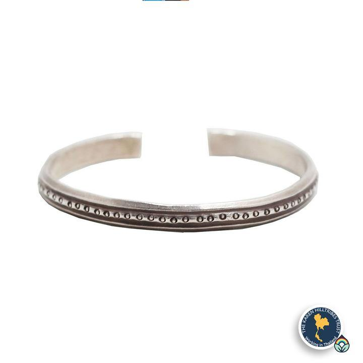 Karen Hilltribe Hand-Crafted and Stamped Dotted Silver Bangle