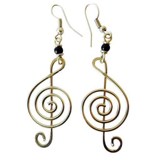 Upcycled Wire Earrings-Musical Clef