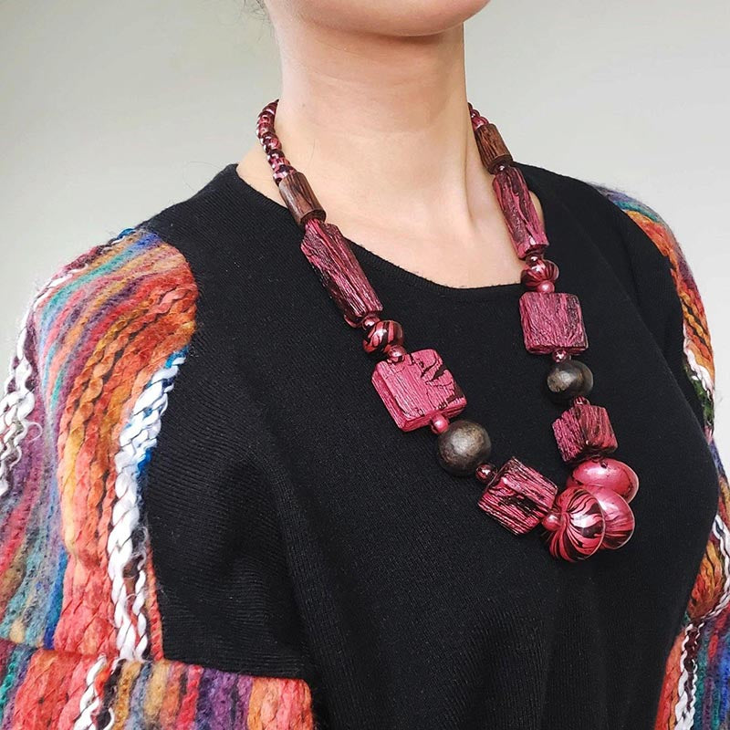 Marbled Painted Red Bead Necklace
