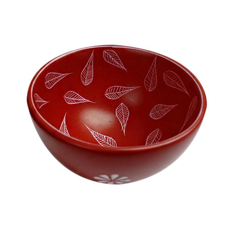 Kenyan Soapstone Bowl-Red, Leaf Engraved
