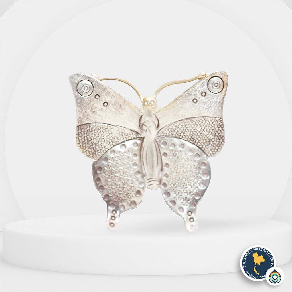 Karen Hilltribe Hand-Crafted Carved and Stamped Silver Butterfly Pendant