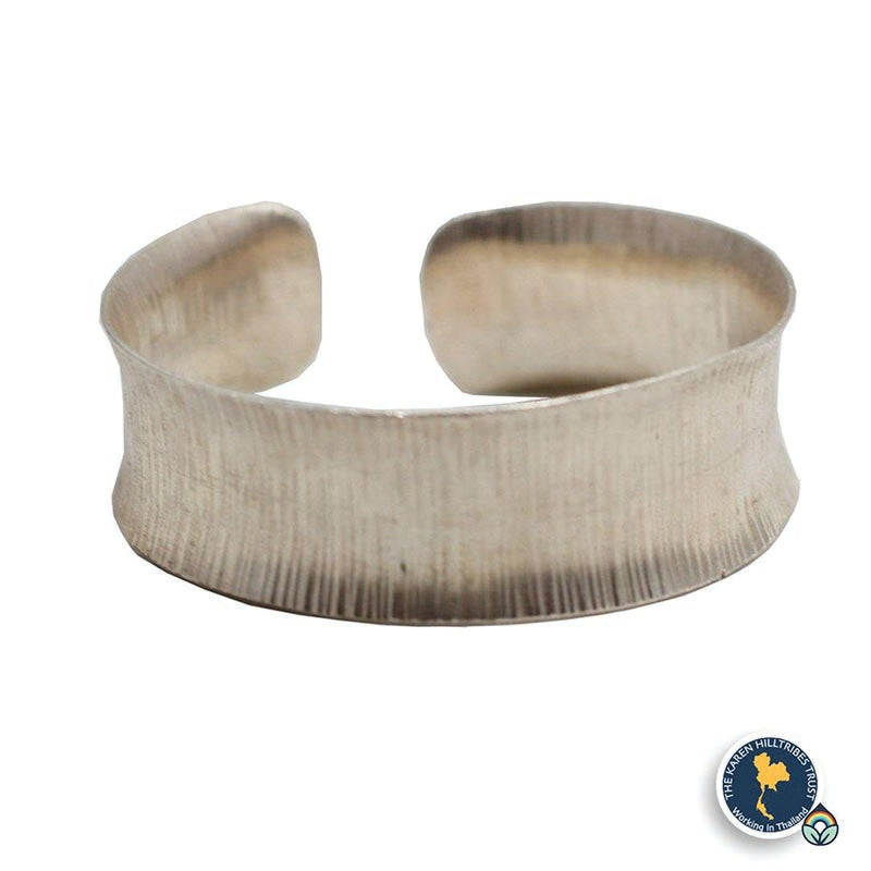 Karen Hilltribe Hand-Crafted Engraved Wide Silver Bangle