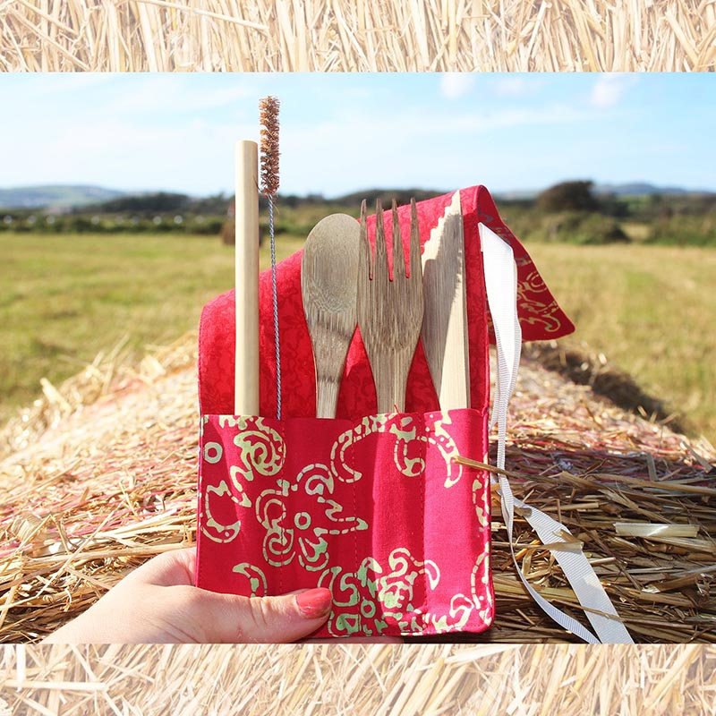 Bamboo Cutlery Set in Red Cotton Pouch. - Rainbow Life