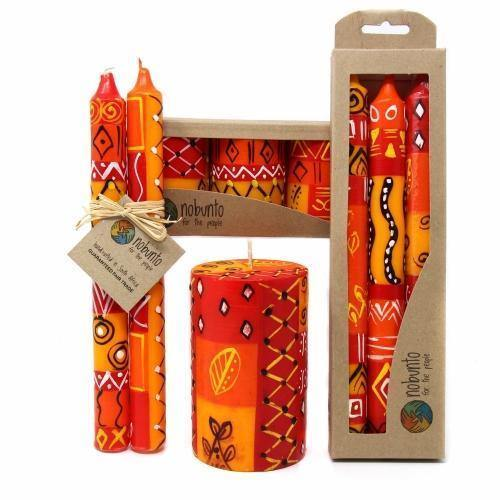 Hand Painted Large Pillar Candle, Zahabu