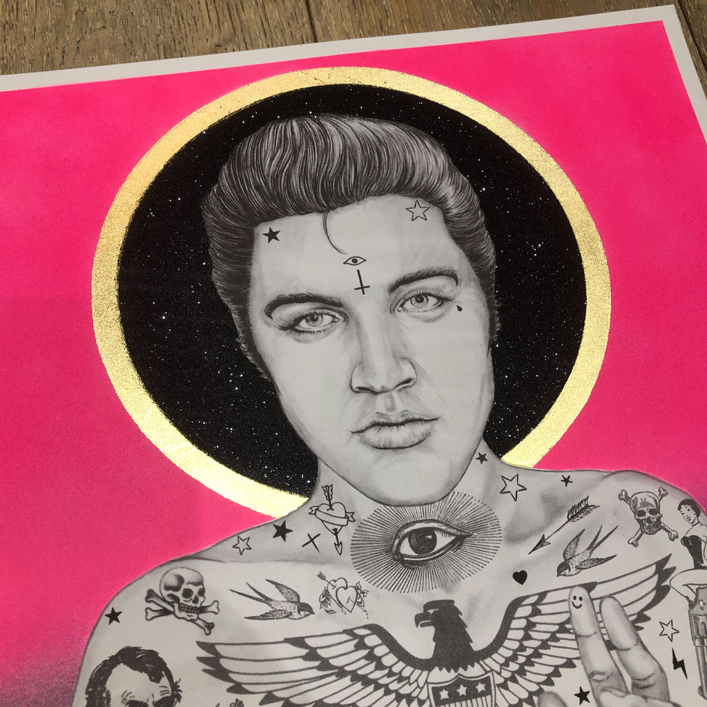 ELVIS BURGER KING (Blk Glitter Halo) - Print