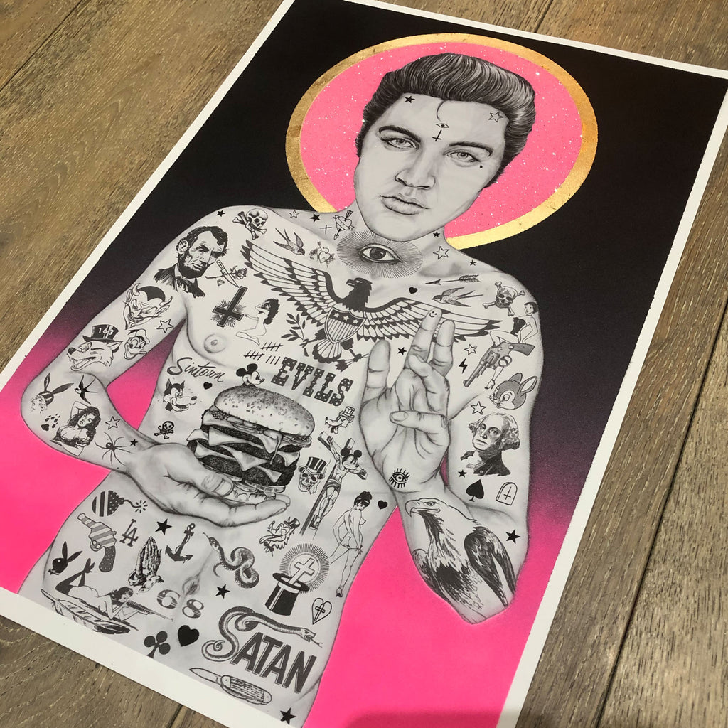 ELVIS BURGER KING (Pink Glitter Halo) - Print