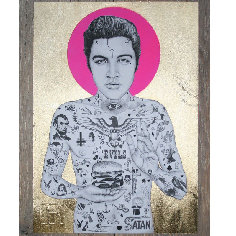 ELVIS BURGER KING (mini gold pink) - Print