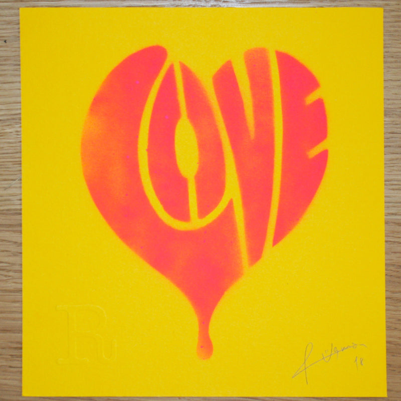 LOVE (Neon Pink on Yellow) - Print