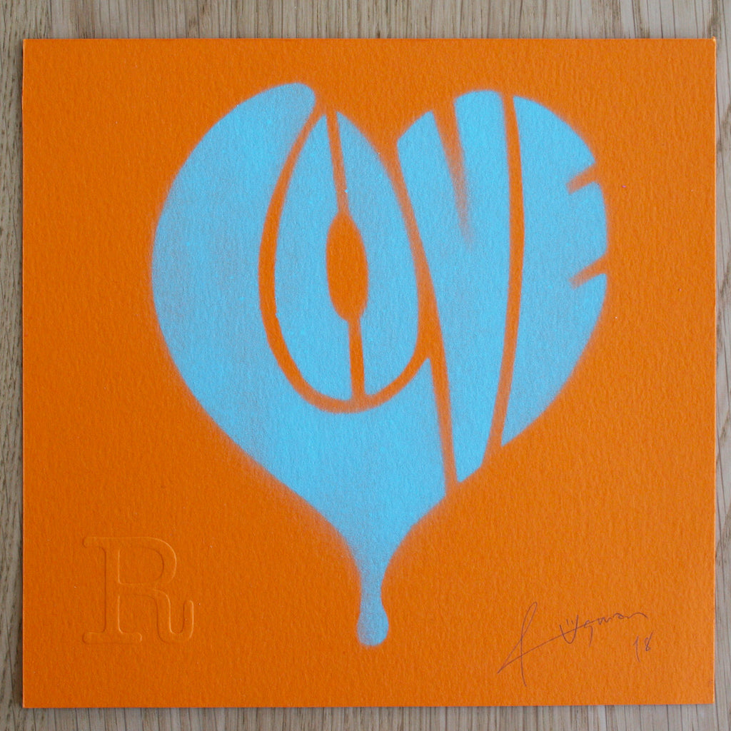 LOVE (Turquoise on Yellow) - Print