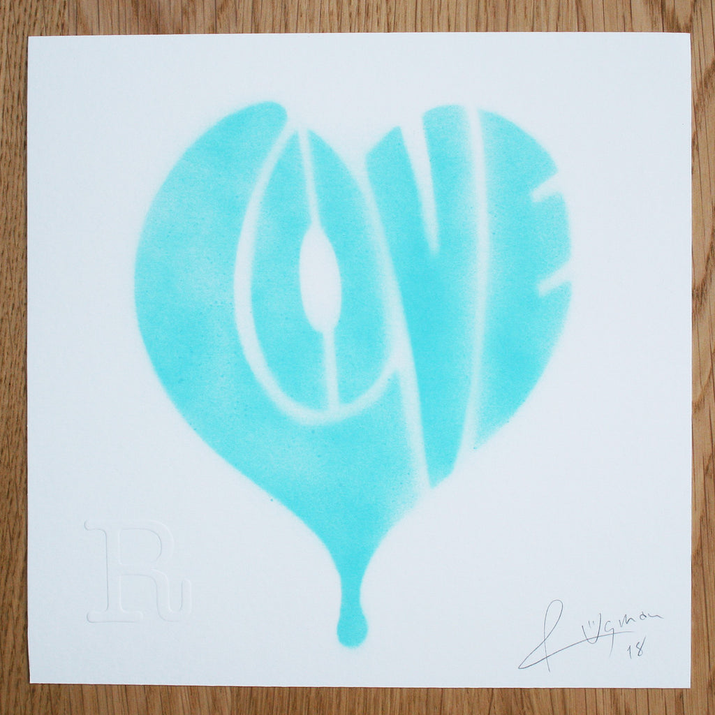 LOVE (Turquoise on White) - Print