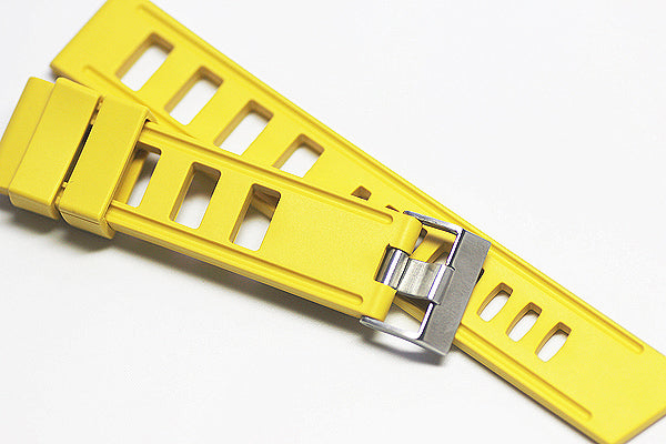 22mm Vanilla Scented Nautural Rubber Strap - Lemon Yellow - OBRIS MORGAN TIMEPIECES