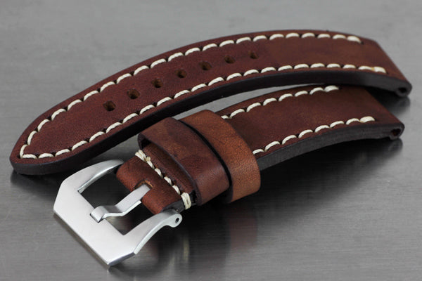 22mm Hand Sew Raw Style Italy Calf Strap - Dark Brown