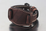 22mm Hand Sew Raw Style Italy Calf Bund Strap - Dark Brown
