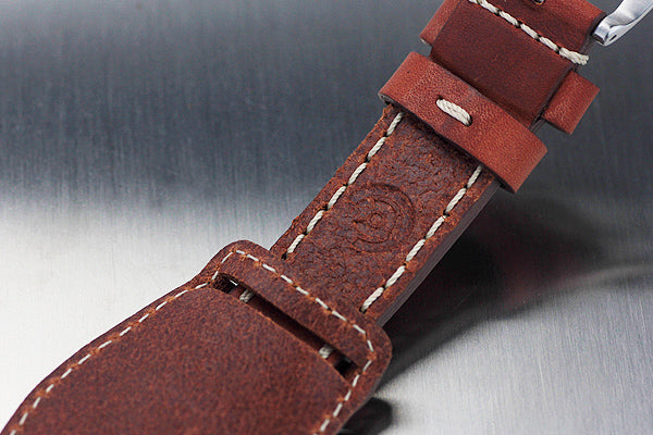 22mm Hand Sew Raw Style Italy Calf Bund Strap - Tan