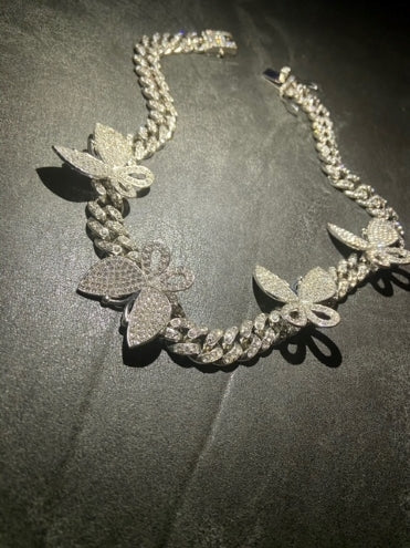 Silver butterfly diamond cuban link necklace