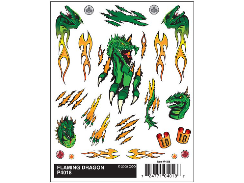 Pine Car Dry Transfer   Flaming Dragon