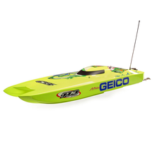 "Load image into Gallery viewer, Miss GEICO Zelos 36"" Twin Brushless Catamaran RTR"