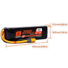 Load image into Gallery viewer, 3 Cell 2200mAh 11.1V 50C Smart LiPo G2: IC3