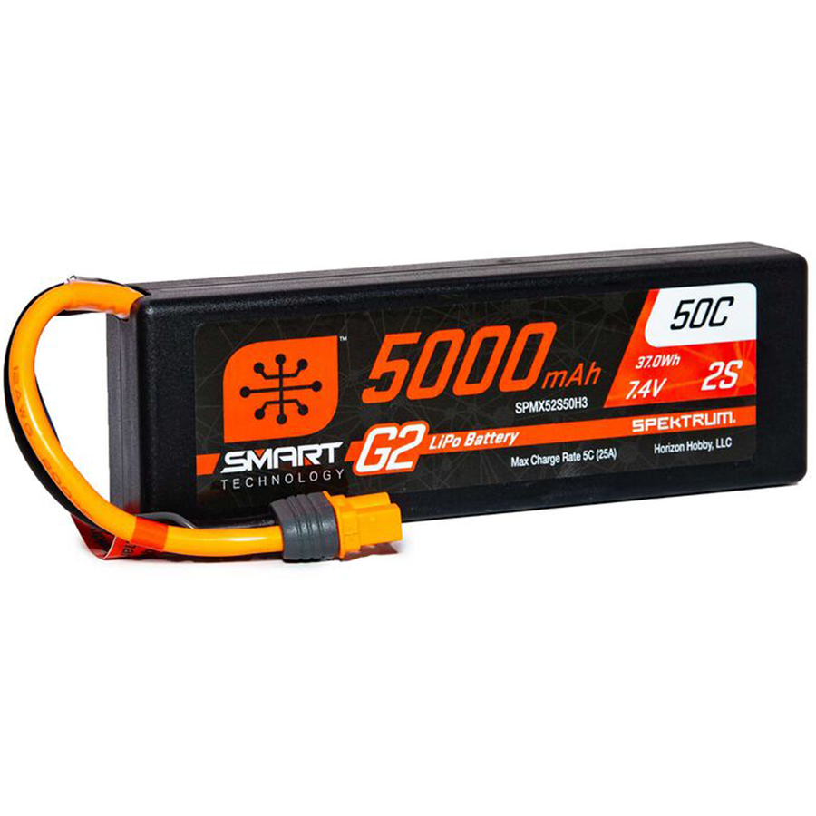 2 Cell 5000mAh 7.4V 50C Hard Case Smart LiPo G2: IC3