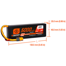 Load image into Gallery viewer, 2 Cell 5000mAh 7.4V 50C Hard Case Smart LiPo G2: IC3