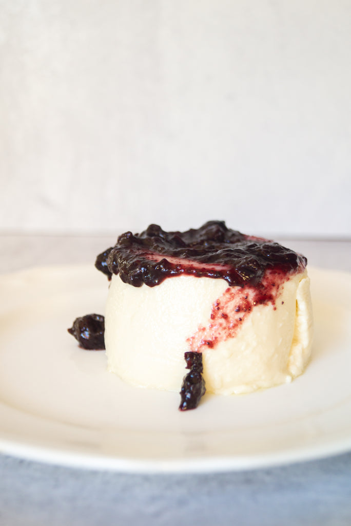 Panna cotta topped with Canopy and Understory wild salal berry spread