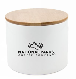 Ceramic Airscape® Storage Canister Holds 8oz Whole Beans, White - NATIONAL PARKS COFFEE COMPANY®
