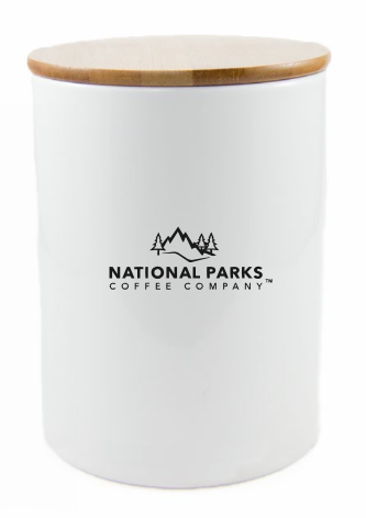 Ceramic Airscape® Storage Canister Holds 1lb Whole Beans, White - NATIONAL PARKS COFFEE COMPANY®