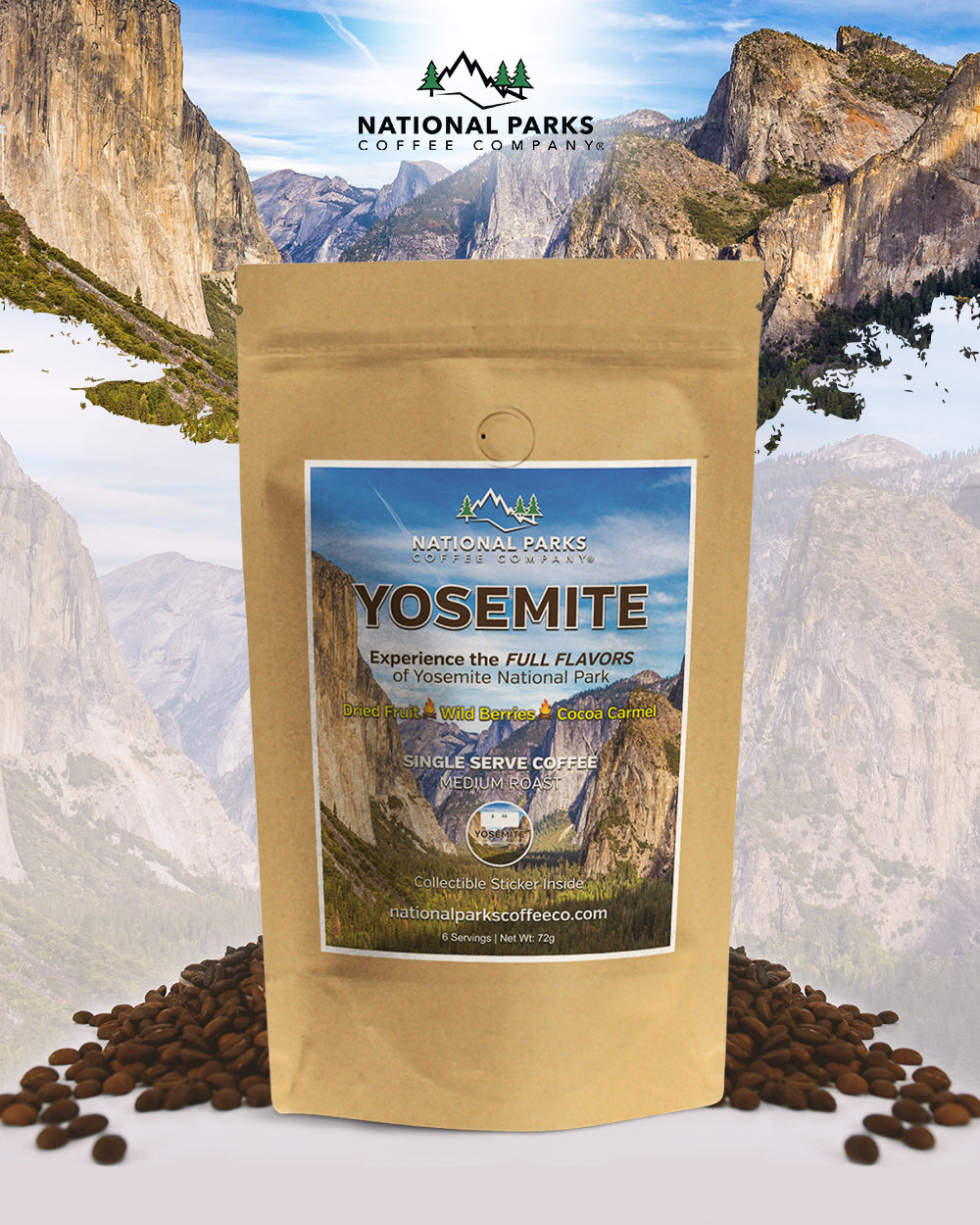 Yosemite Coffee Gift Set (1 Single Serve and Colored Tumbler)