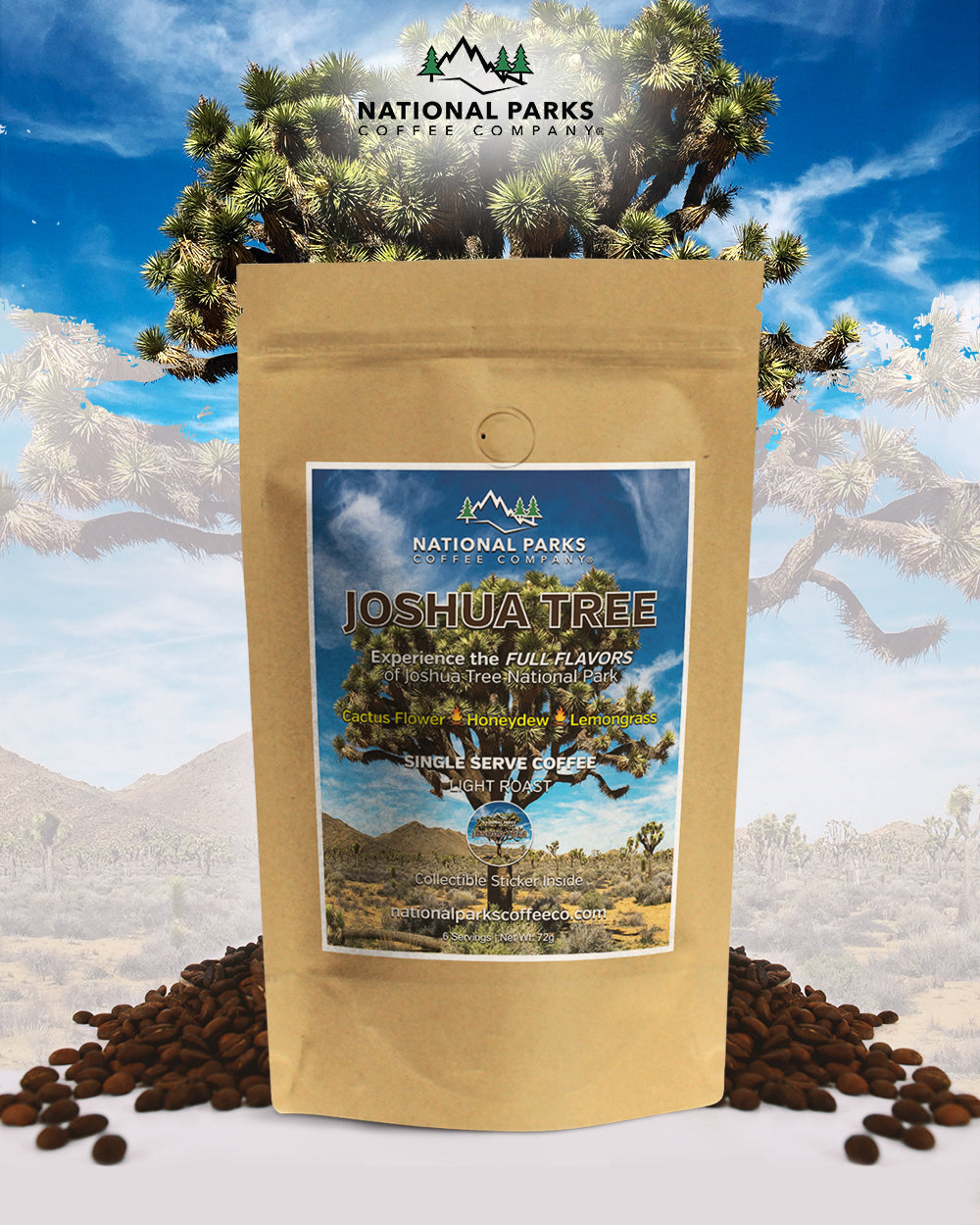 Joshua Tree Coffee Gift Set (1 Single Serve and Colored Tumbler)