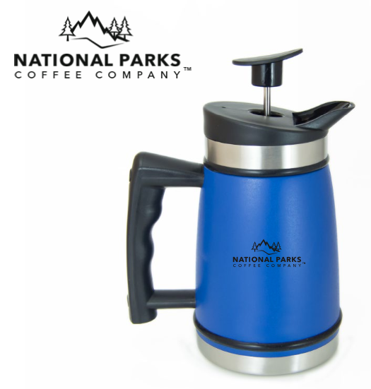 French Press Carafe with Bru-Stop™ 20 fl.oz Mountain Lake Blue - NATIONAL PARKS COFFEE COMPANY®