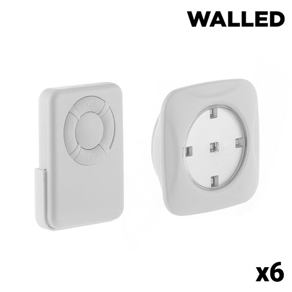 Mini LED lampor med fjärrkontroll WalLED (6 st) - Decorema