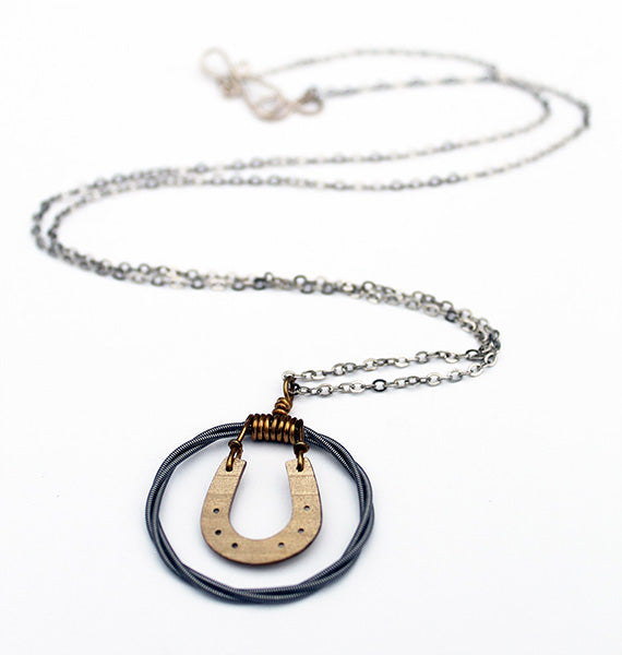 Good Luck Cymbal Horseshoe Pendant