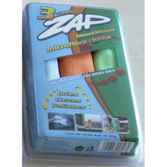 ZAP MICROFIBER TRIPLE GLASS & WIINDOW  (38cmx38cm) 3pcs/pack - Autohub Pakistan - 1