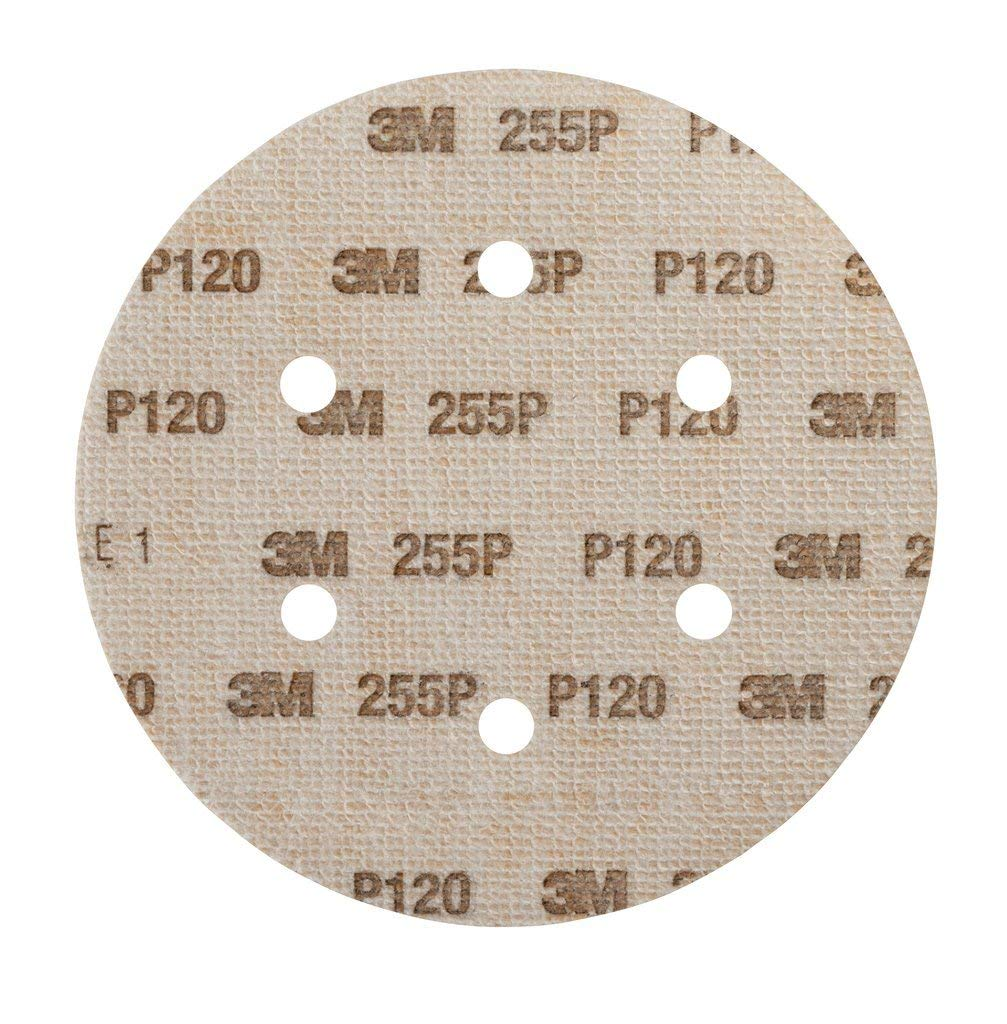 3M 255P Hook it Abrasive Disc, Gold, 150mm, 6 holes, P120