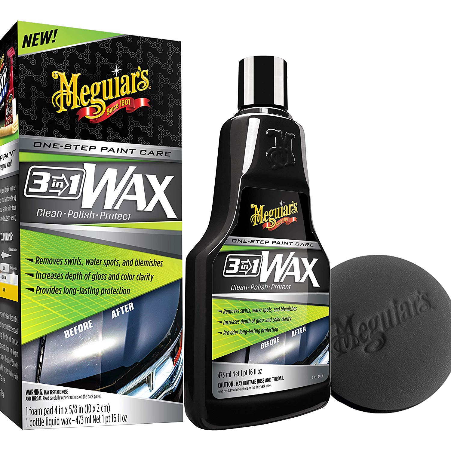 Meguiars 3-In-1 Wax – Multiple Steps, One Easy To Use Wax - 16 oz