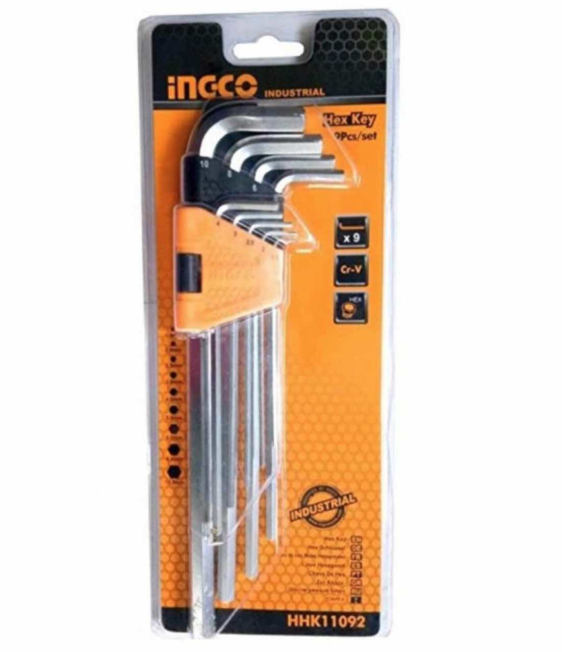 INGCO 9 Pcs Hex Key Set ( L Shape Key )