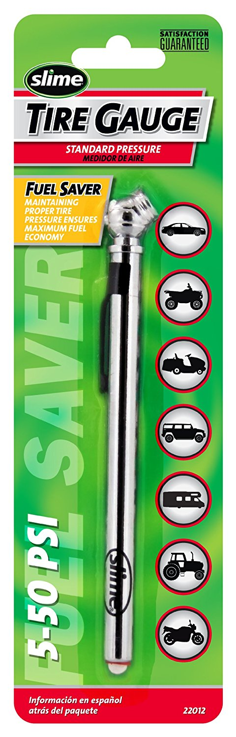 Slime Chrome Pencil Tire Gauge (5-50 psi)