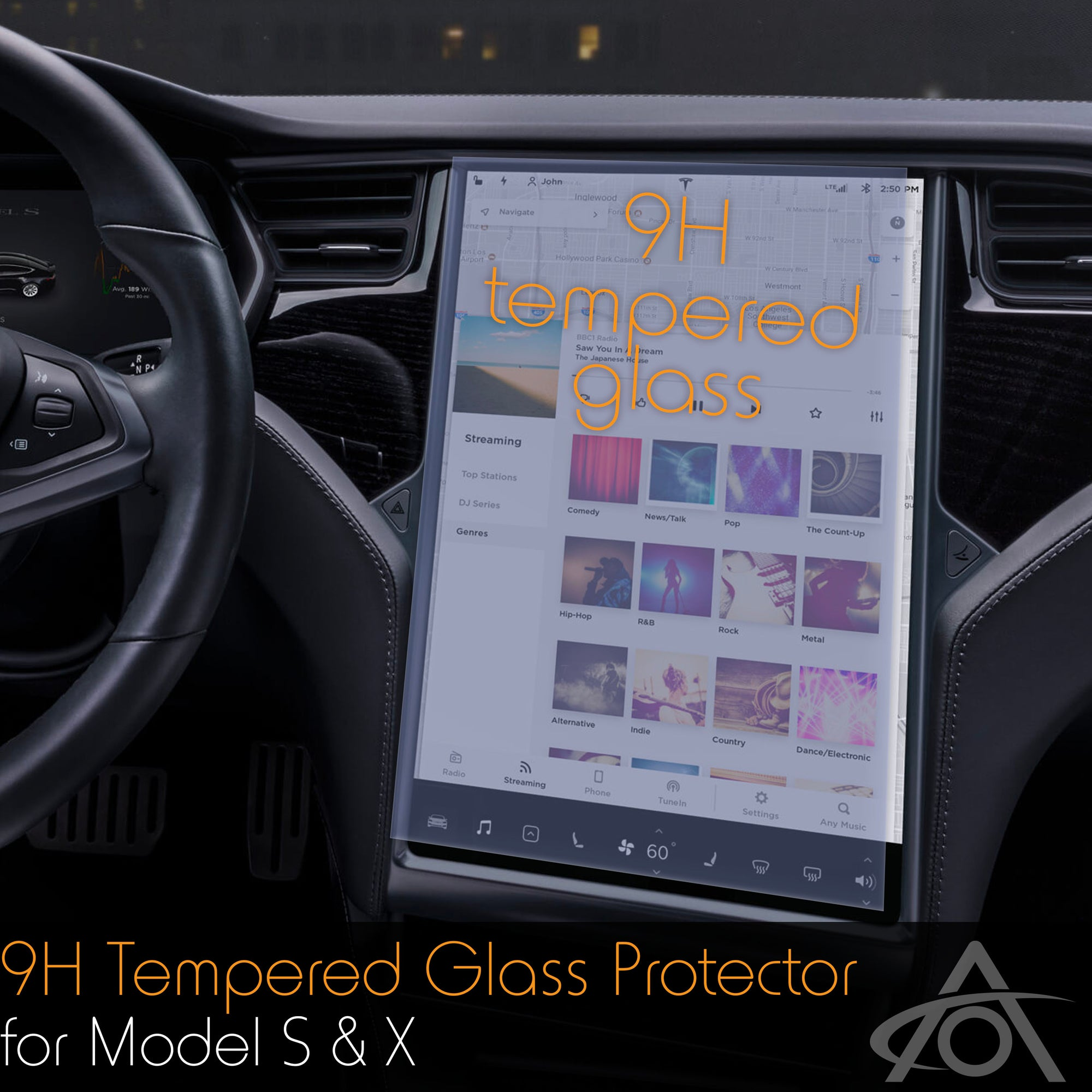 Tempered Glass (9H) Screen Protector for the Tesla Model S & X